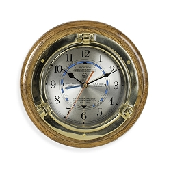 Brass Porthole Quartz Tide & Time Clock