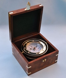 Solid Brass Gimbaled Boxed Clock w/ Quartz Movement
