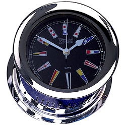 Weems & Plath Chrome Atlantis Quartz Clock Black Flag Dial