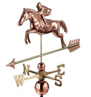 Pure Copper Jumping Horse & Rider Weathervane