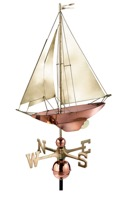 Pure Copper with Brass Sail Racing Sloop Weathervane