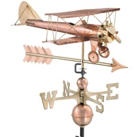 Pure Copper Biplane with Arrow Weathervane