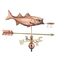 Pure Copper Bass with Lure and Arrow Weathervane
