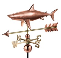 Pure Copper Shark with Arrow Weathervane