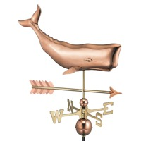 Pure Copper Whale with Arrow Weathervane