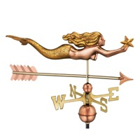 Pure Copper with Golden Leaf Finish  Mermaid with Starfish and Arrow Weathervane