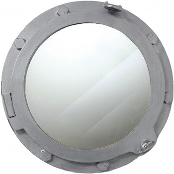 "17"" Wooden Porthole Mirror w/ Silver Finish"