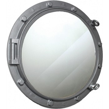 "24"" Wooden Porthole Mirror w/ Silver Finish"