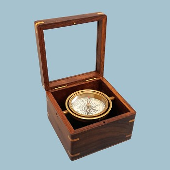 Small Gimbaled Boxed Compass w/ Beveled Glass Top