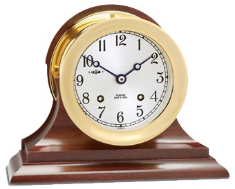 "4.5"" Chelsea Ship's Bell Clock in Brass on Traditional Base"