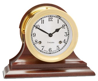 "4.5"" Chelsea Shipstrike Clock in Brass on Traditional Base"