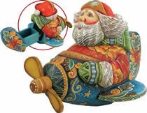 Aviator Santa Claus Artistic Wood Carved Sculpture