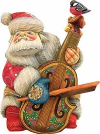 Musician Cellist Santa Claus Artistic Wood Carved Sculpture