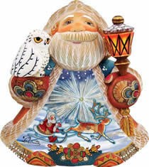 Artistic Wood Carved Northern Lights Santa Claus Sculpture