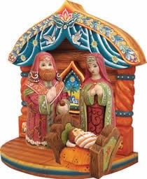 Artistic Wood Carved Holy Family w/ Manger Nativity Sculpture