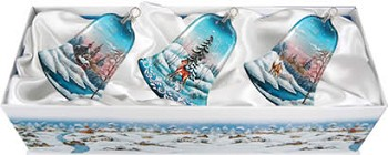 Set of Three Glass Winter Forest Bells Christmas Ornaments w/ Gift Box