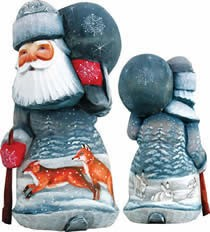 Artistic Wood Carved Delightful Foxy Santa Claus Sculpture