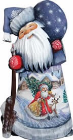 Artistic Wood Carved Santa Claus Along The Way Sculpture