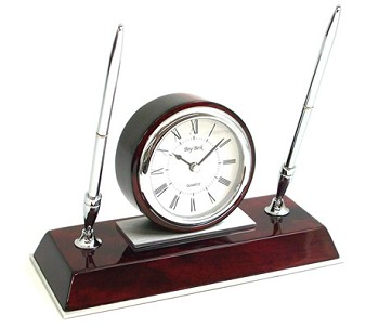 Chrome Dresden Clock w/ Two Pens on Rosewood Base