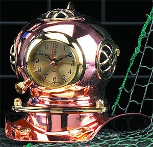 Brass & Copper Quartz Diver's Helmet Clock