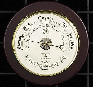 Brass Barometer/Thermometer on Cherry Wood Weather Station