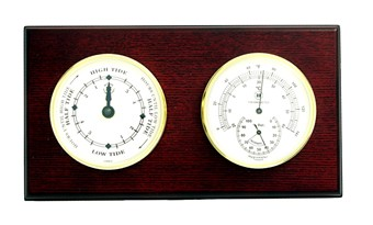 Brass Tide Clock & Thermometer/Hygrometer on Mahogany
