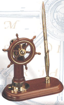 Ship Wheel & Compass Pen Holder (pen not included)