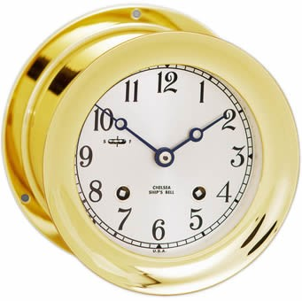 "4.5"" Chelsea Ship's Bell Clock in Brass"