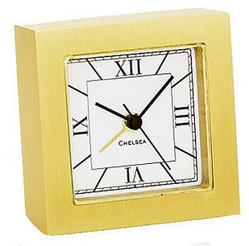 Chelsea Square Desk Alarm Clock in Brass