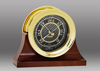"4.5"" Chelsea Carbon Fiber Barometer in Brass on Contemporary Base"