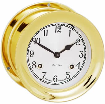 "4.5"" Chelsea Shipstrike Clock in Brass"