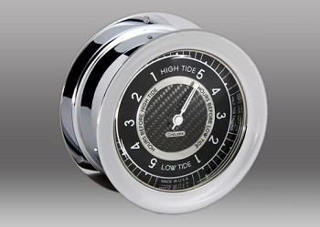 Chelsea Carbon Fiber Tide Clock in Chrome