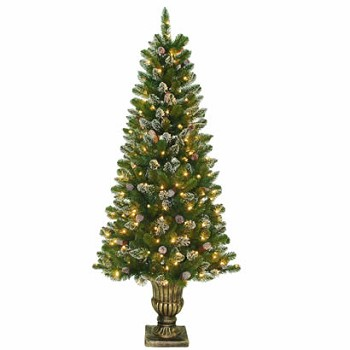 6 Ft. Crystal Pine Entrance Christmas Tree with 200 Clear Lights