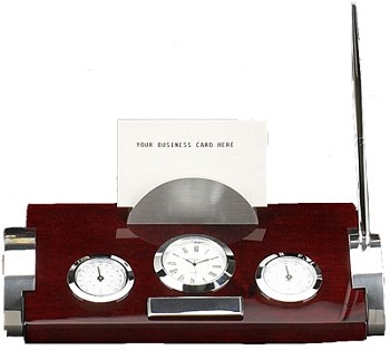 Clock, Thermometer & Hygrometer on Rosewood & Metal Weather Station