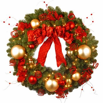 36 In. Cozy Christmas Wreath with 100 Red and Clear Lights