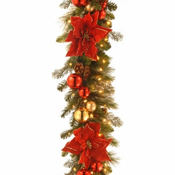 9 Ft X 12 In Holiday Christmas Garland With 100 Clear Lights