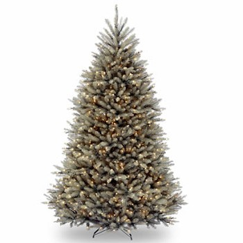 7 1/2 Ft. Dunhill Blue Fir Hinged Christmas Tree w/ 750 Clear Lights