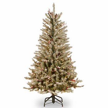 4 1/2 Ft. Dunhill Fir Slim Christmas Tree w/ Cones & 350 Clear Lights