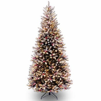 7 12 ft dunhill fir slim christmas tree w cones 600 clear lights - 75 Ft Slim Christmas Tree