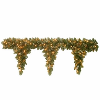 6 Ft. Glittery Pine Teardrop Christmas Garland with 100 Clear Lights