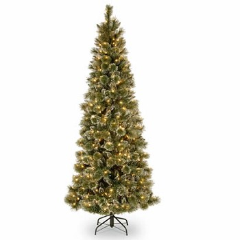 7.5 Ft. Glittery Slim Pine Christmas Tree w/ Cones & 500 Clear Lights