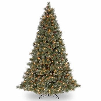 8 ft glittery pine christmas tree with cones and 700 clear lights