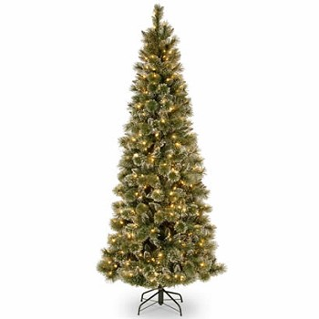 7.5 Ft. Glittery Pine Slim Christmas Tree w/ 600 White LED Lights