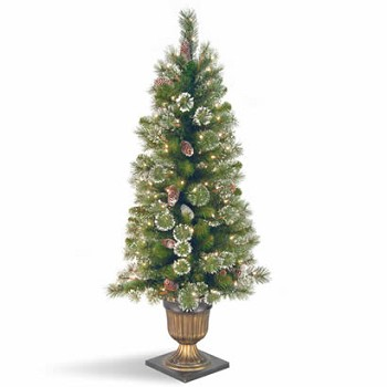 4 Ft. Glittery Pine Entrance Christmas Tree w/ 100 Clear Lights