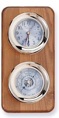 Two Instrument Brass Weather Station on Oak Wood Base