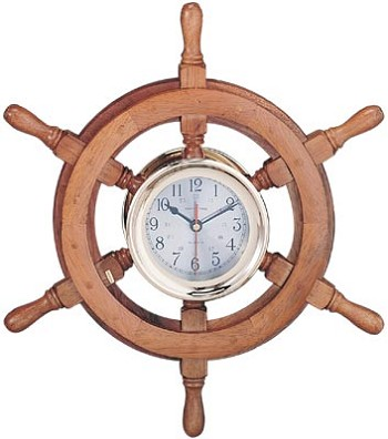 "24"" Captain's Ship Wheel Clock"