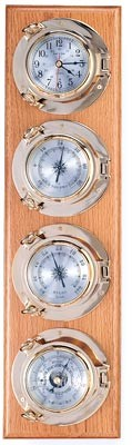 Four Instrument Brass Porthole Weather Station on Oak Wood Base