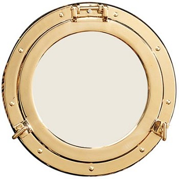 "17"" Polished Brass Porthole Mirror"
