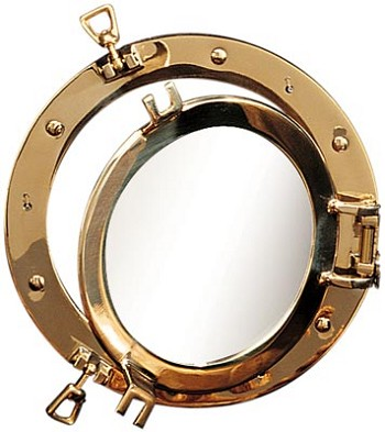 "21"" Polished Brass Porthole Window"