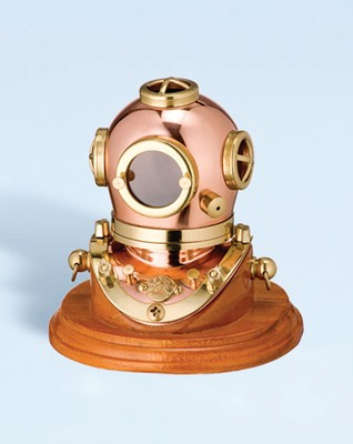 "3"" Polished Brass & Copper Mark V Dive Helmet w/ Wood Base"